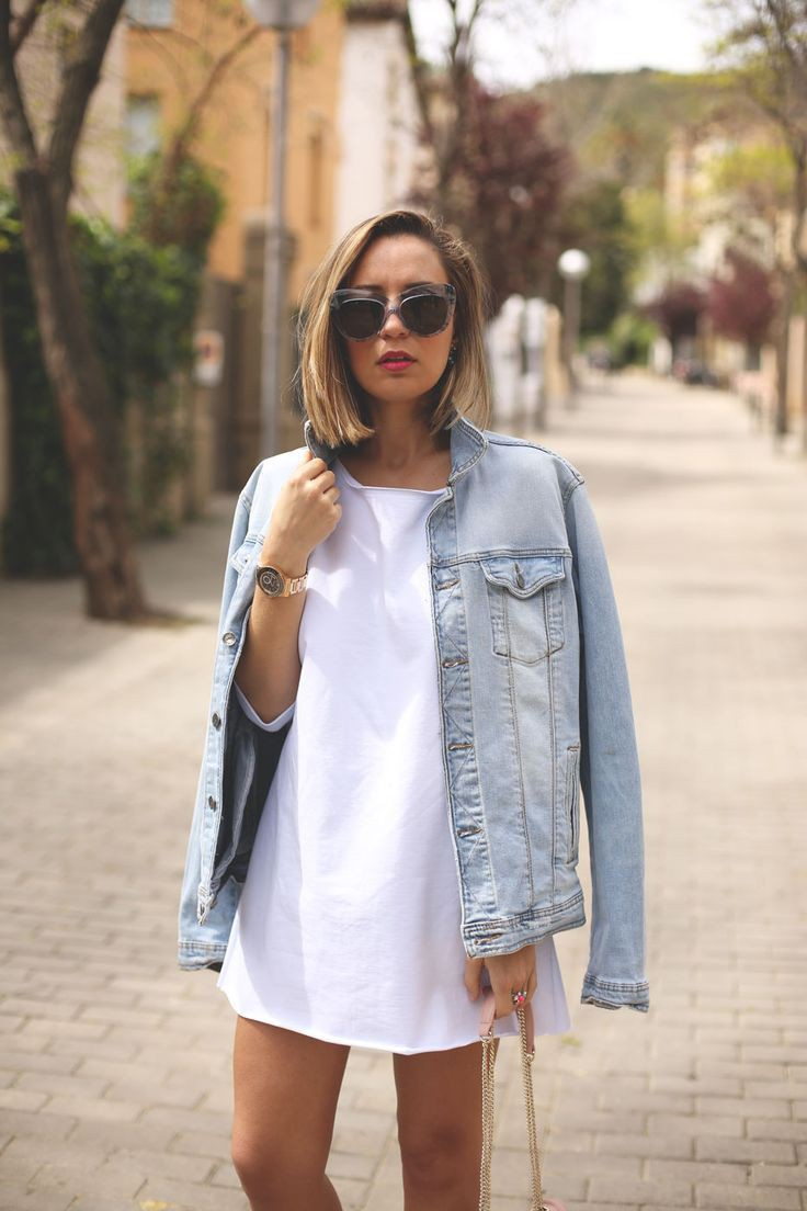 White t shirt dress with denim jacket