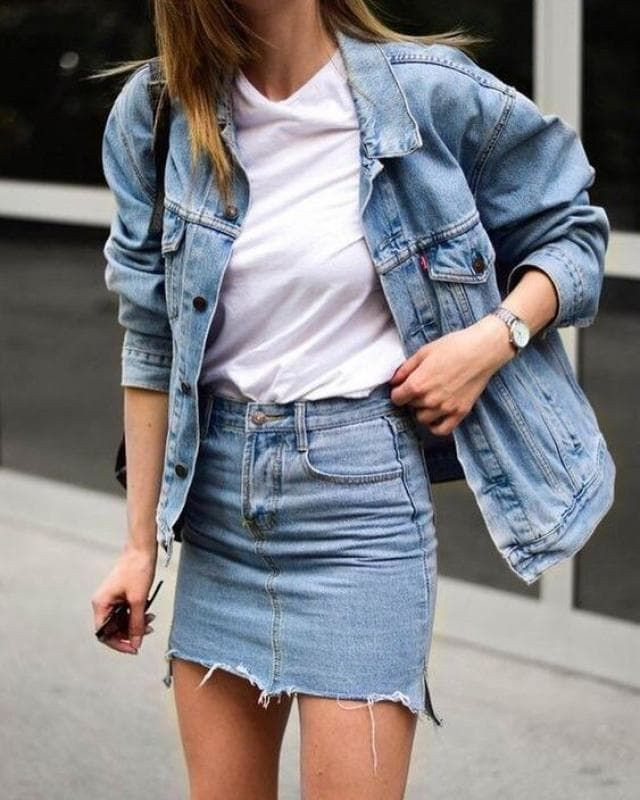Designer outfit denim outfit ideas, street fashion, denim skirt, jean jacket, jean short