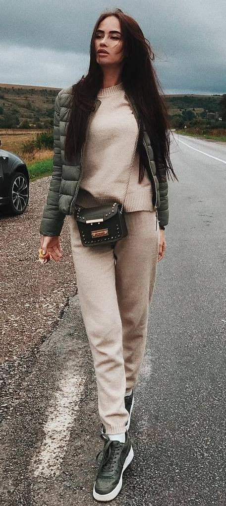 Beige and brown colour outfit ideas 2020 with leather, jacket, denim