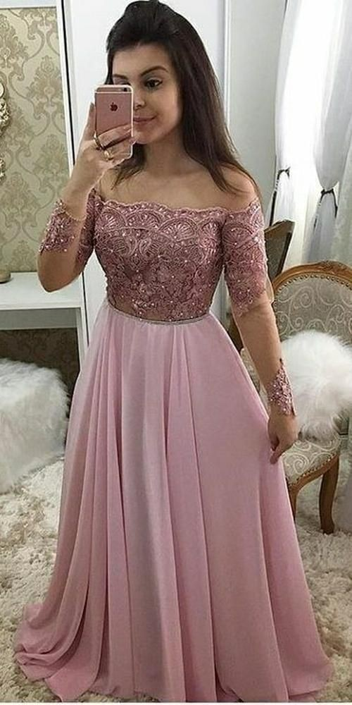 Off shoulder full sleeves gown