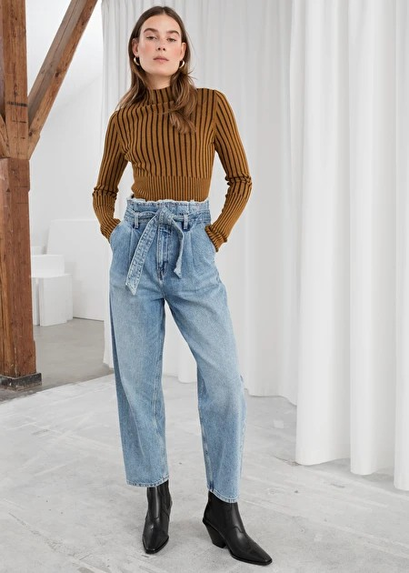 White and blue colour outfit with mom jeans, trousers, shorts