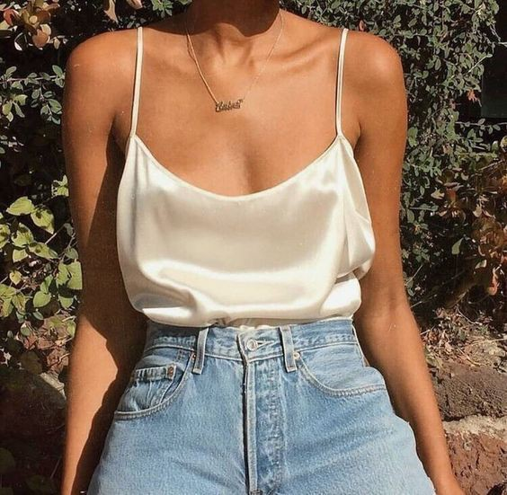 Silk shirt mom jeans, sleeveless shirt, mom jeans, crop top, t shirt