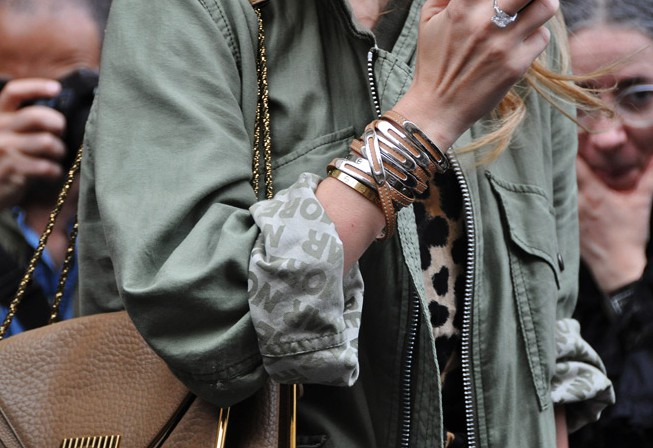 Colour dress with fashion accessory, leather jacket, leather