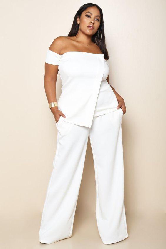 Wide leg white pants plus size