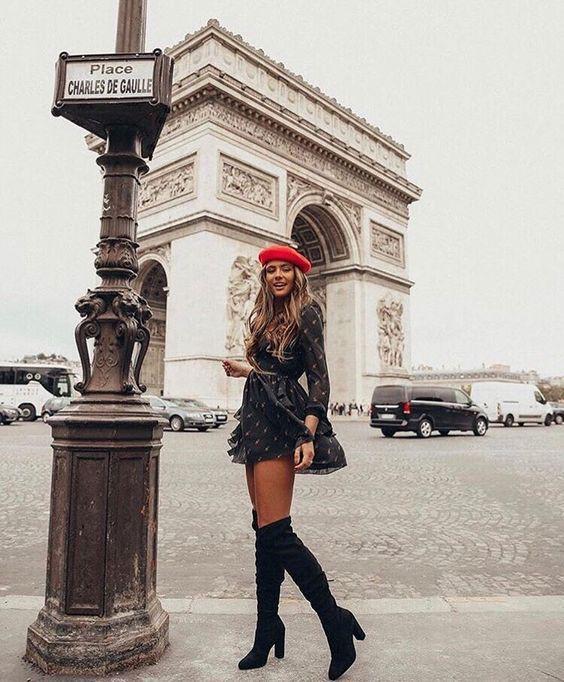 Style outfit arc de triomphe arc de triomphe, champs Élysées