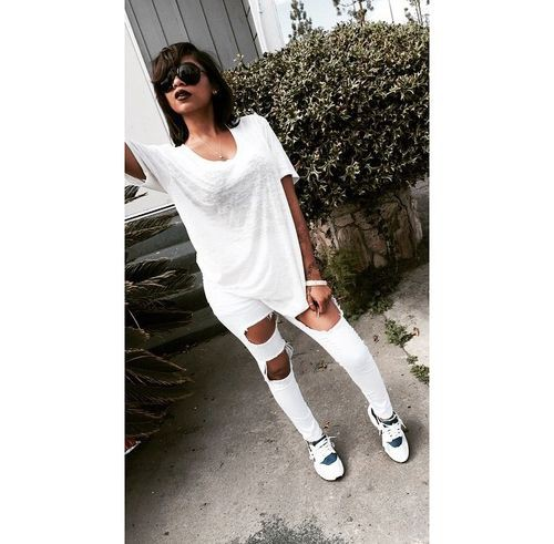 White trendy clothing ideas with ripped jeans, leggings, tights