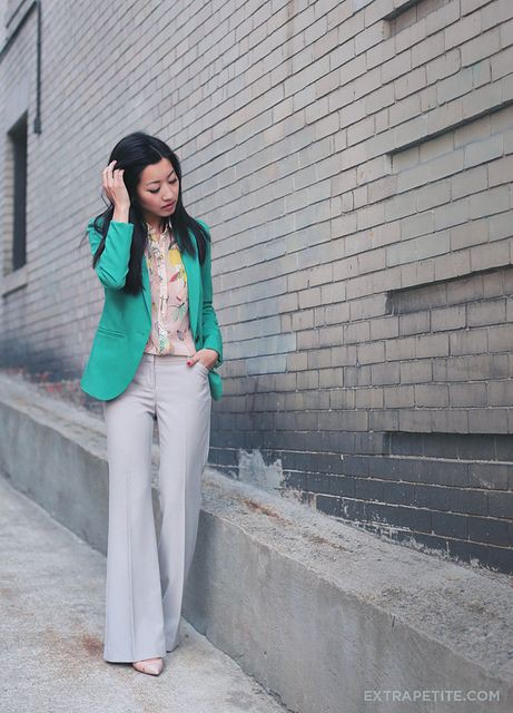 Turquoise and green beautiful clothing ideas with trousers, jacket, blazer