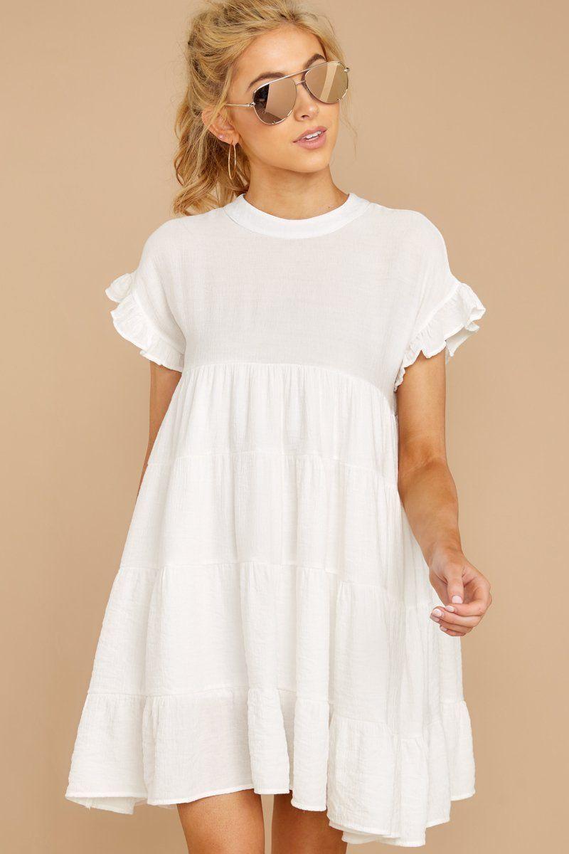Colour outfit ideas 2020 white babydoll dress, wedding dress, day dress, a line