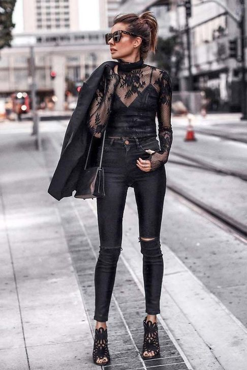 Designer outfit trendy black outfits, street fashion, ripped jeans