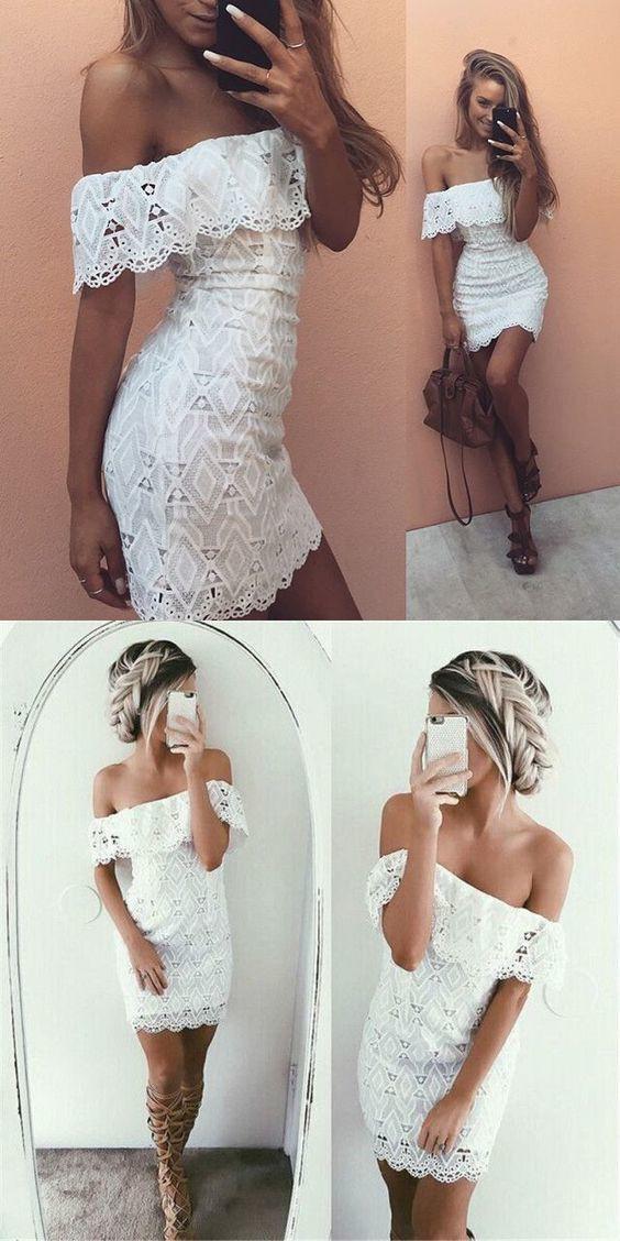 Shop lace white off shoulder dress