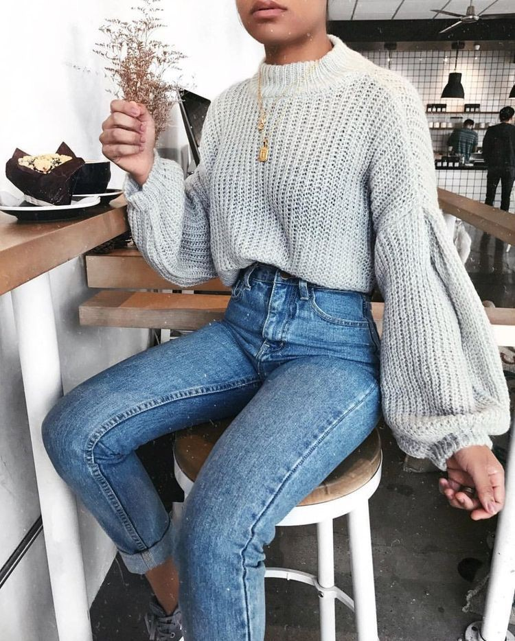 Grey knit sweater outfit, casual wear, mom jeans