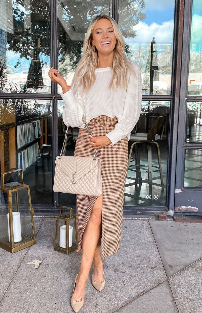 White trendy clothing ideas with blouse, skirt