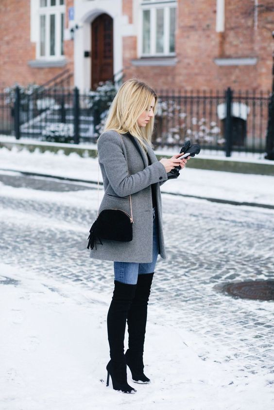 Winter outfits high heels boots