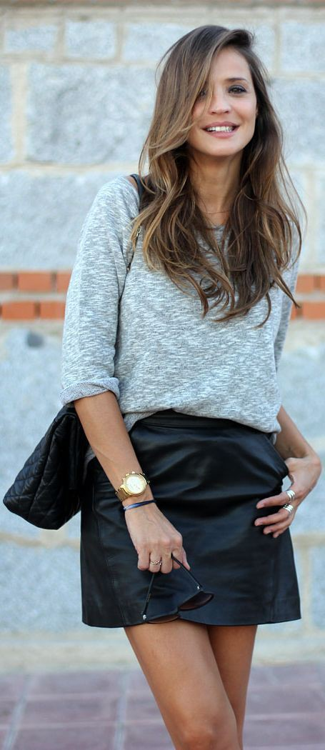 Black outfit ideas with leather skirt, pencil skirt, miniskirt