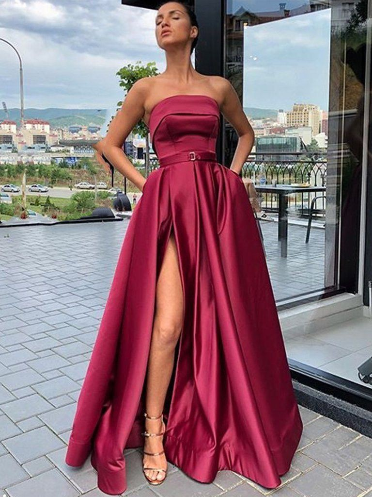 Lookbook fashion burgundy prom dress bridal party dress, bridesmaid dress