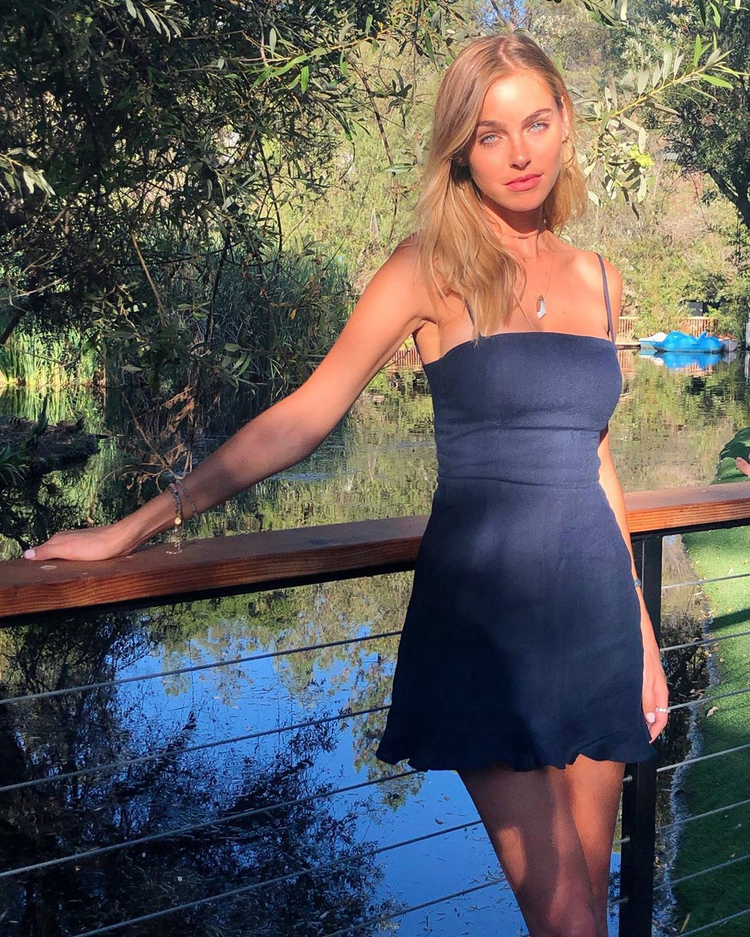 black colour outfit with cocktail dress, in blond hairs