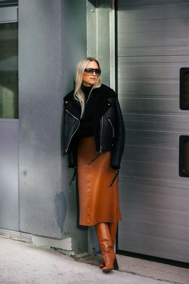 Orange colour outfit ideas 2020 with leather, jacket, skirt
