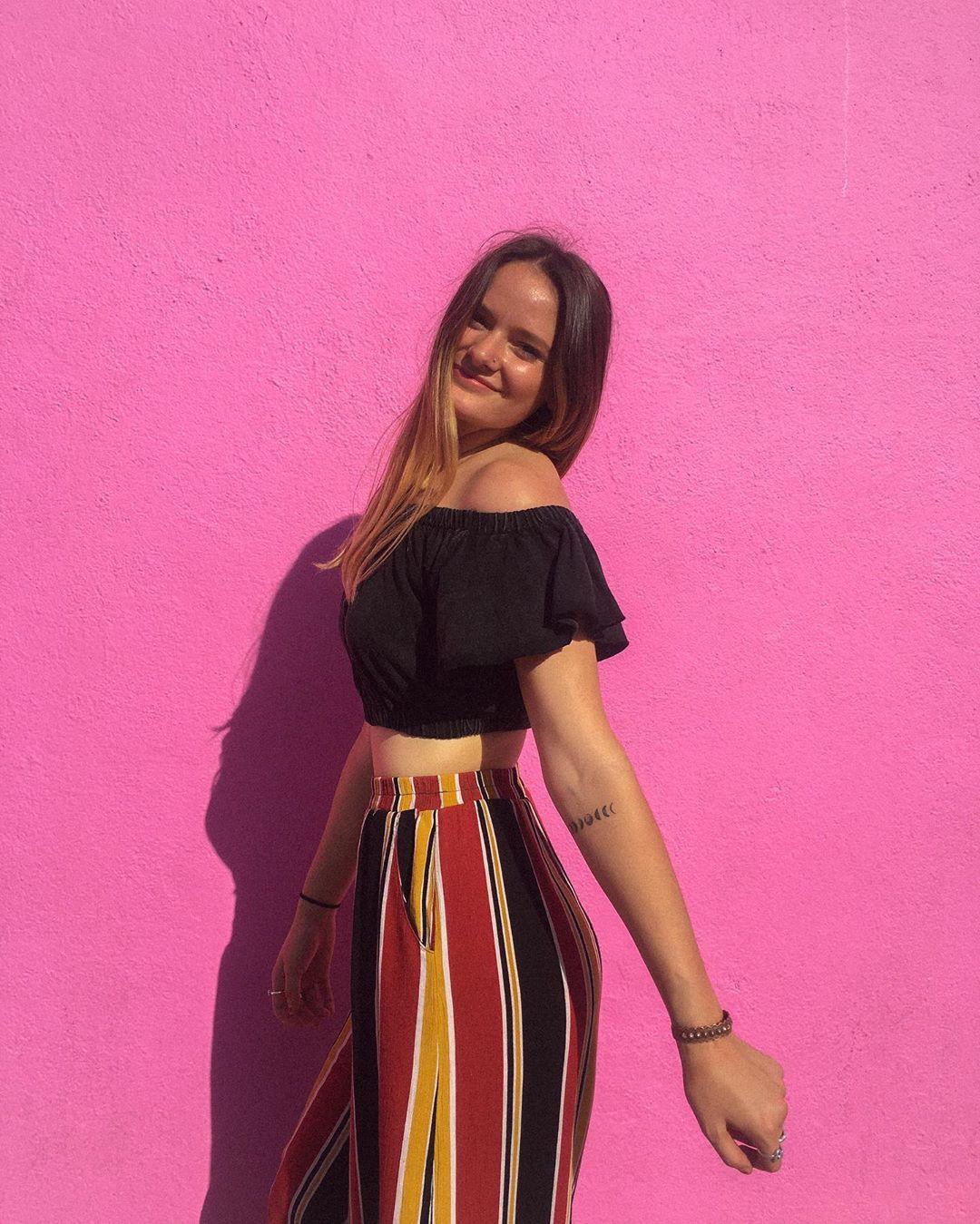 Magenta and pink dress, fashion photoshoot, Long Hair Girl