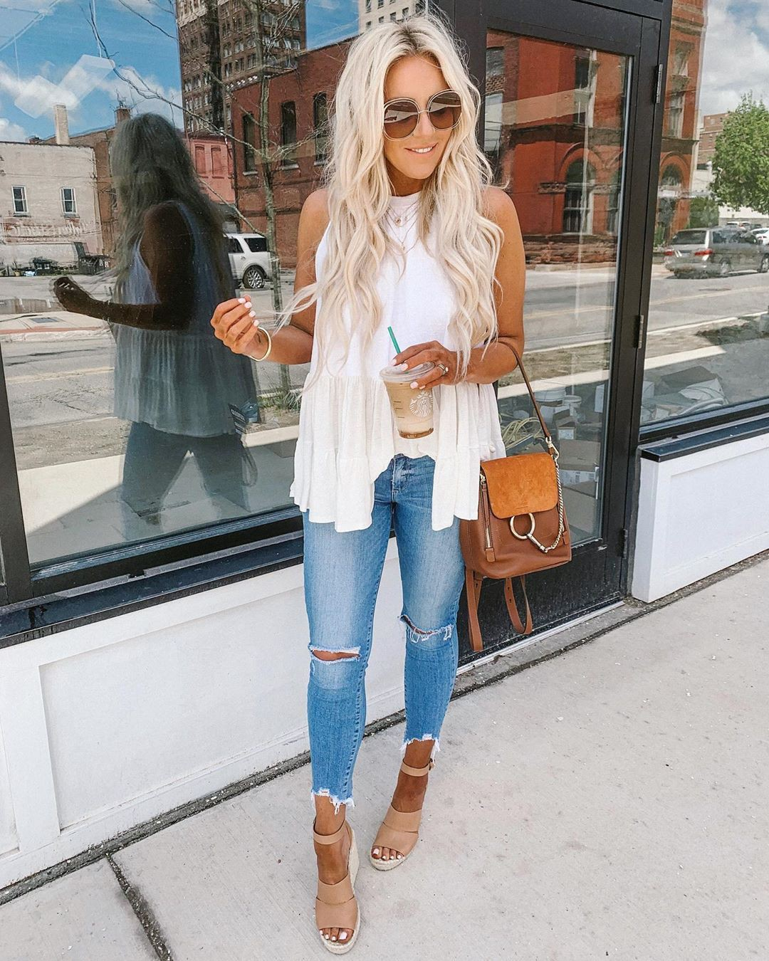 Orange and brown colour dress with sleeveless shirt, ripped jeans, trousers
