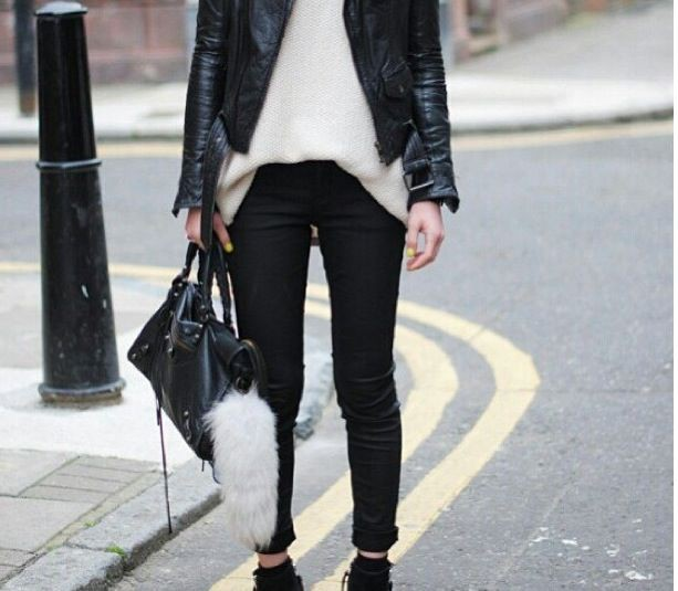 Black and white colour outfit, you must try with leather jacket, trousers, leather