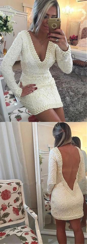 White v neck cocktail dress