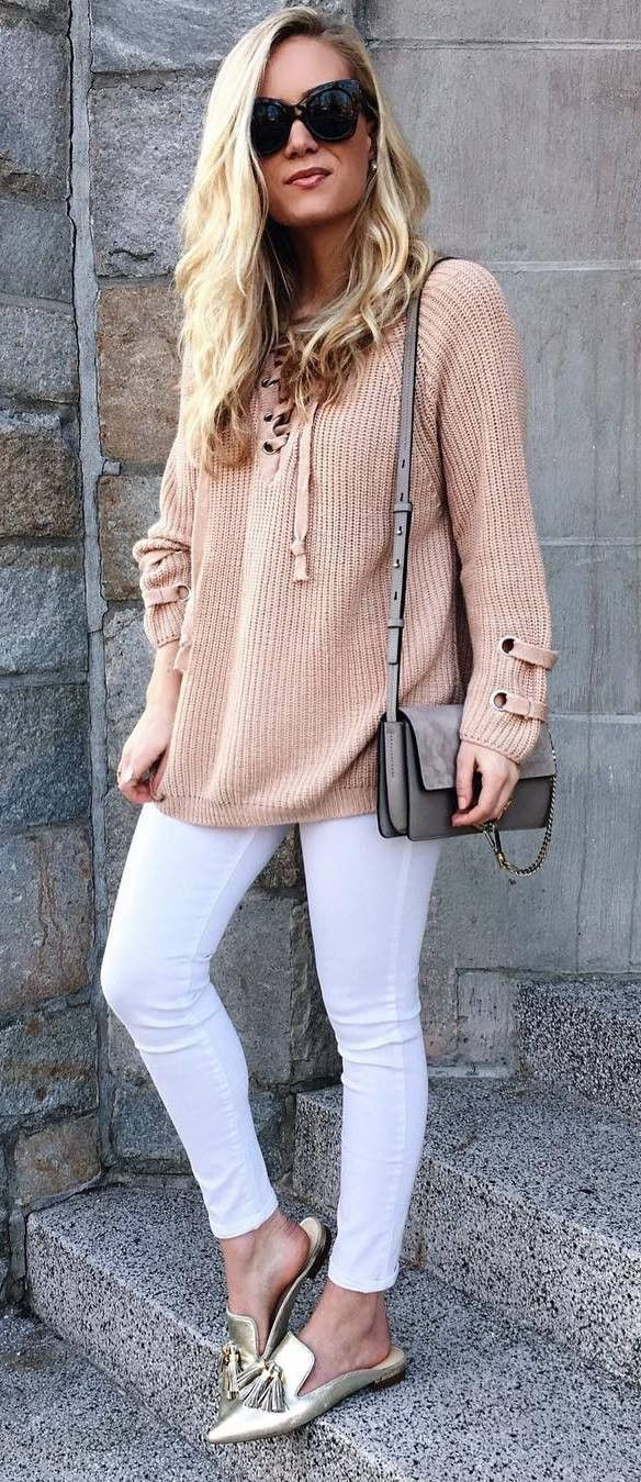 White and brown classy outfit with sweater, jeans sunglasses, shoe