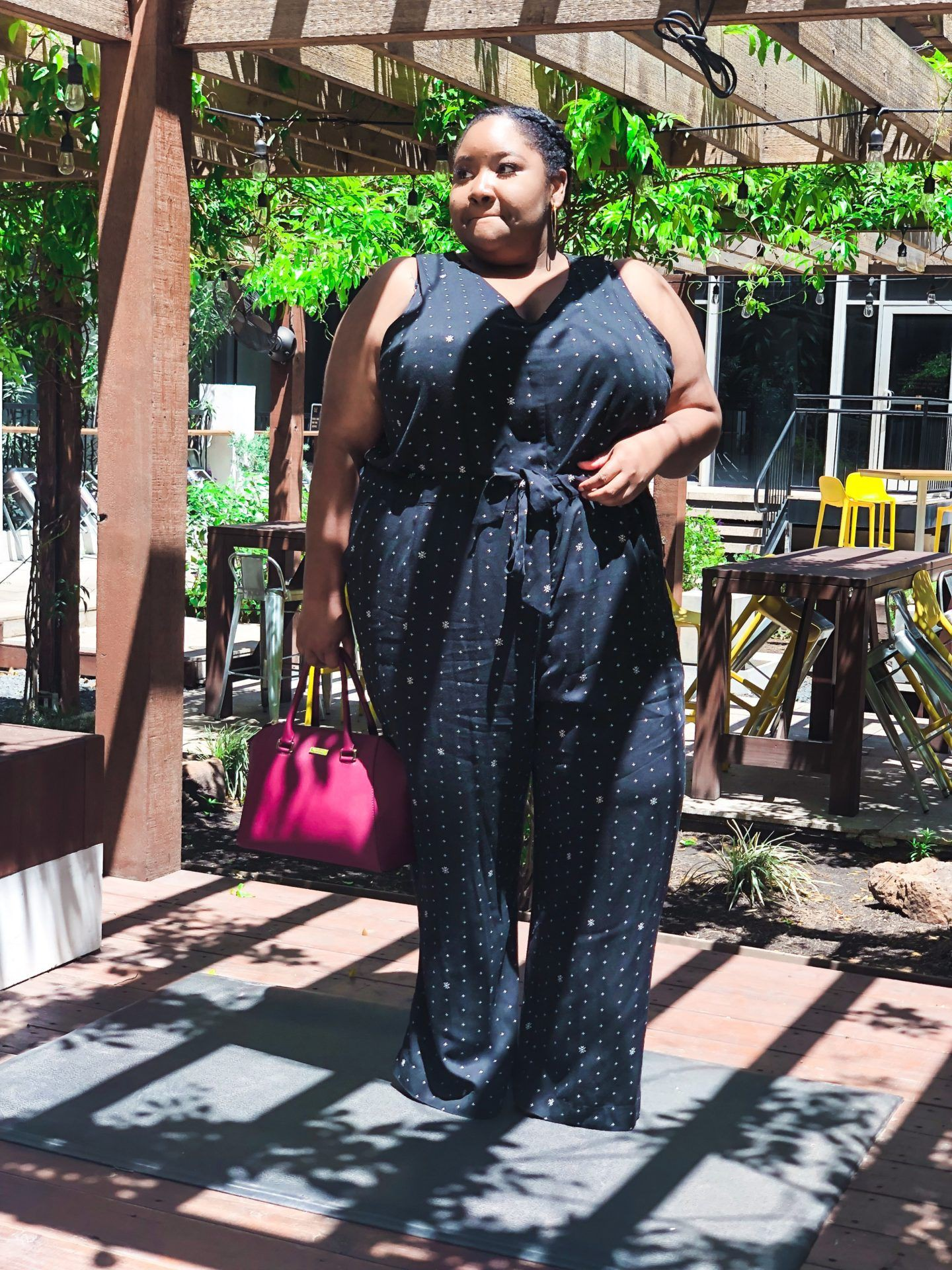Black lookbook dress with romper suit, denim