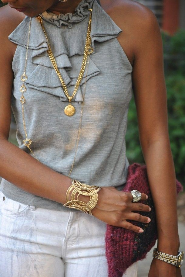 Outfits with rose gold jewelry