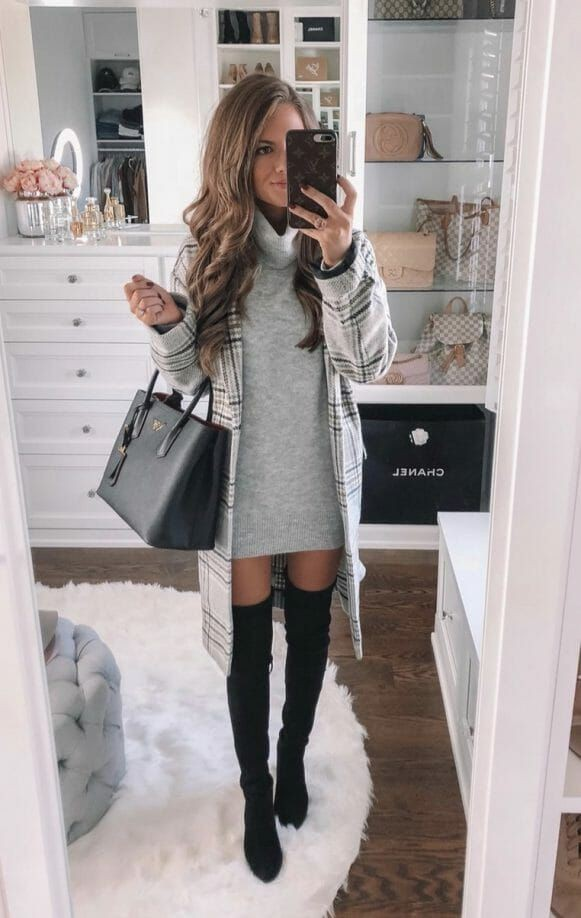 Chic casual winter outfits knee high boot, winter clothing
