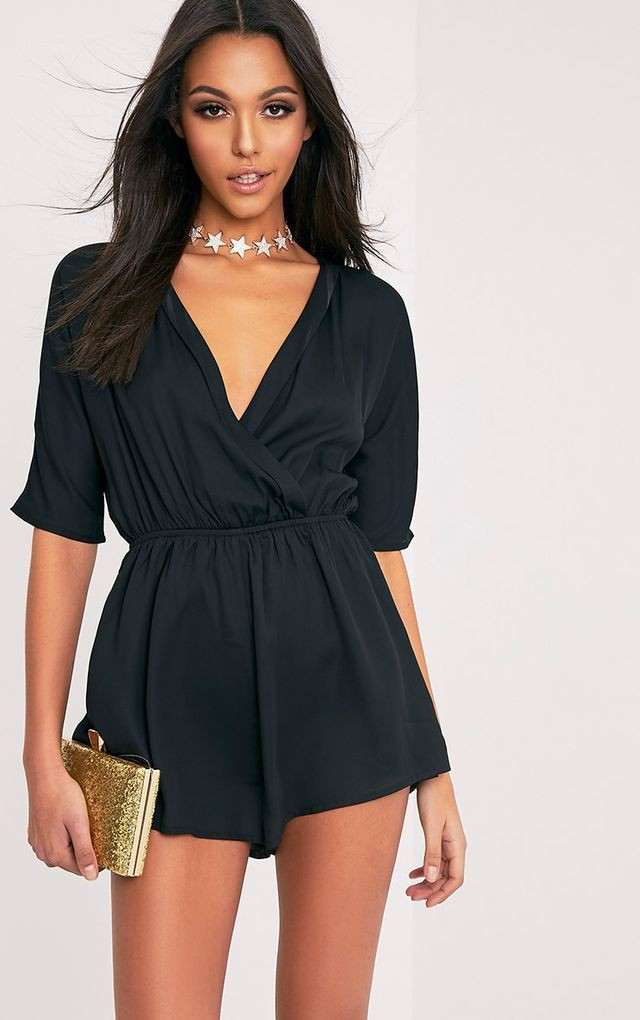 Black style outfit with cocktail dress, wrap dress
