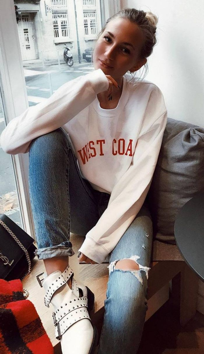 White outfit instagram with sweater, jacket, jeans