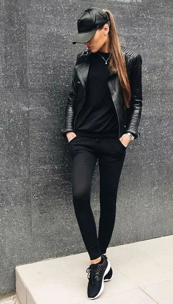 Colour outfit, you must try womens black outfit high heeled shoe, leather jacket