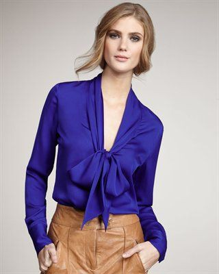 Electric blue and cobalt blue outfit ideas with blouse, shirt, silk