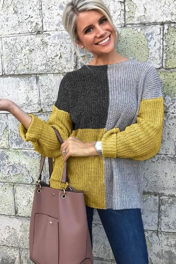 yellow outfit style with sweater, attire ideas, street fashion