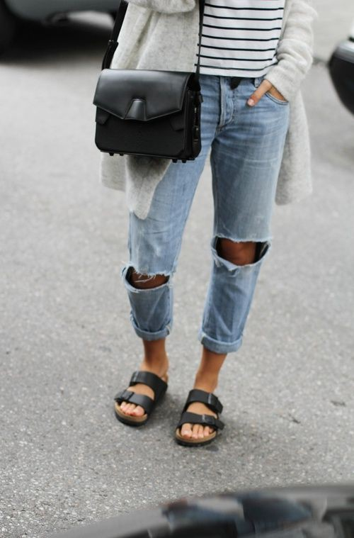 Ripped jeans and birkenstocks, birkenstock arizona, street fashion, ripped jeans, casual wear, t ...