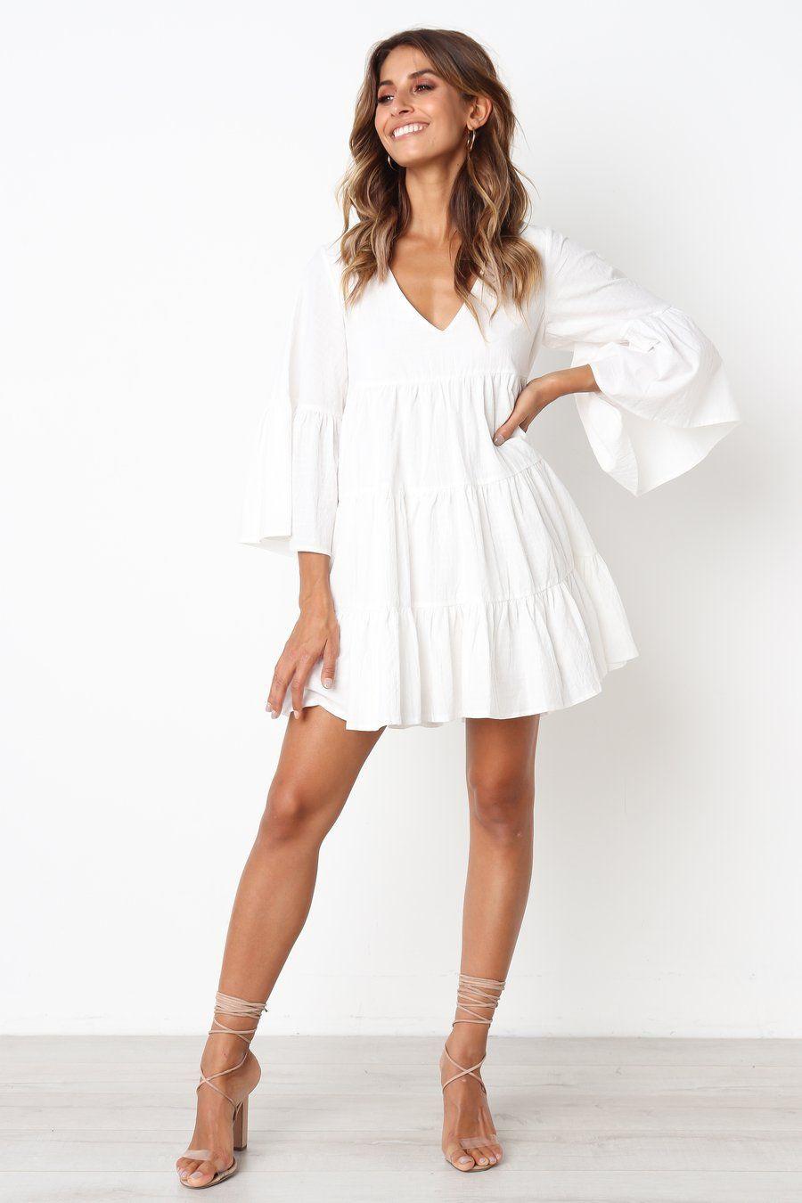 White long sleeve flowy dress