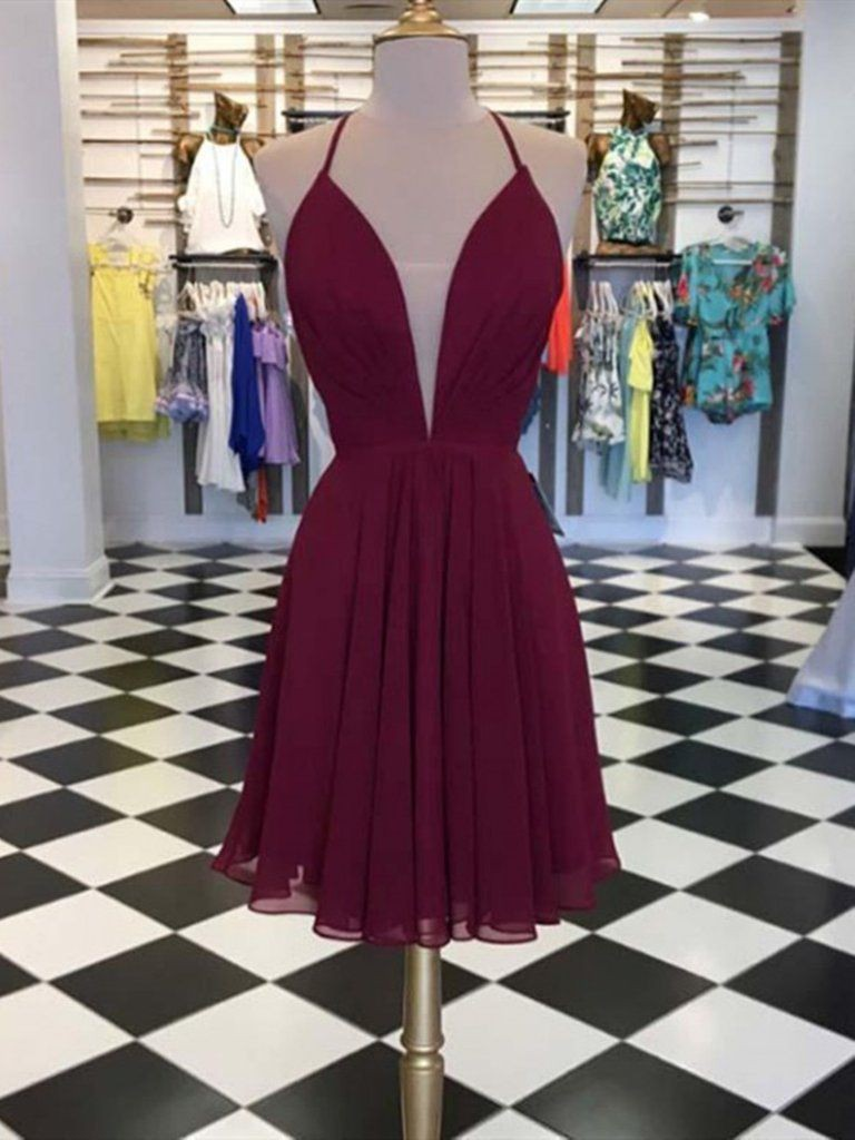 Colour outfit, you must try burgundy hoco dresses, bridesmaid dress, backless dress, cocktail dr ...