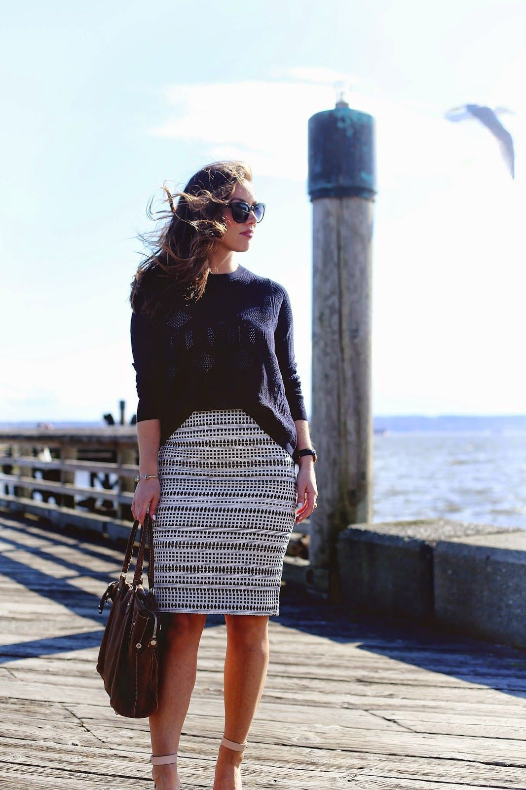 White colour combination with pencil skirt, shorts, skirt