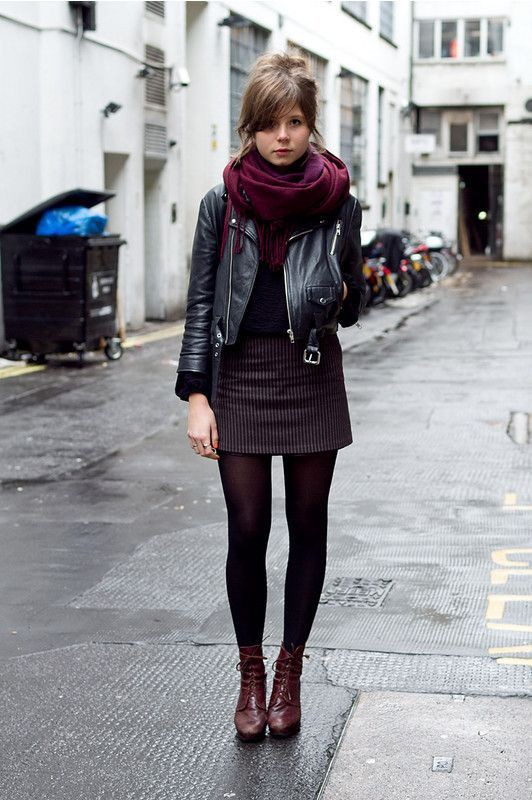 Winter skirt with tights, winter clothing, leather jacket, street fashion, casual wear