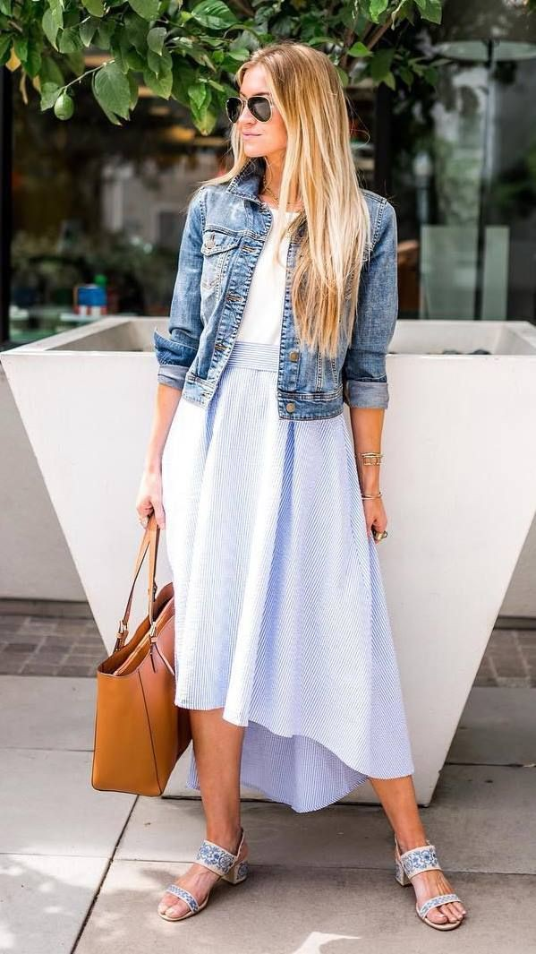 White colour combination with jean jacket, jacket, skirt