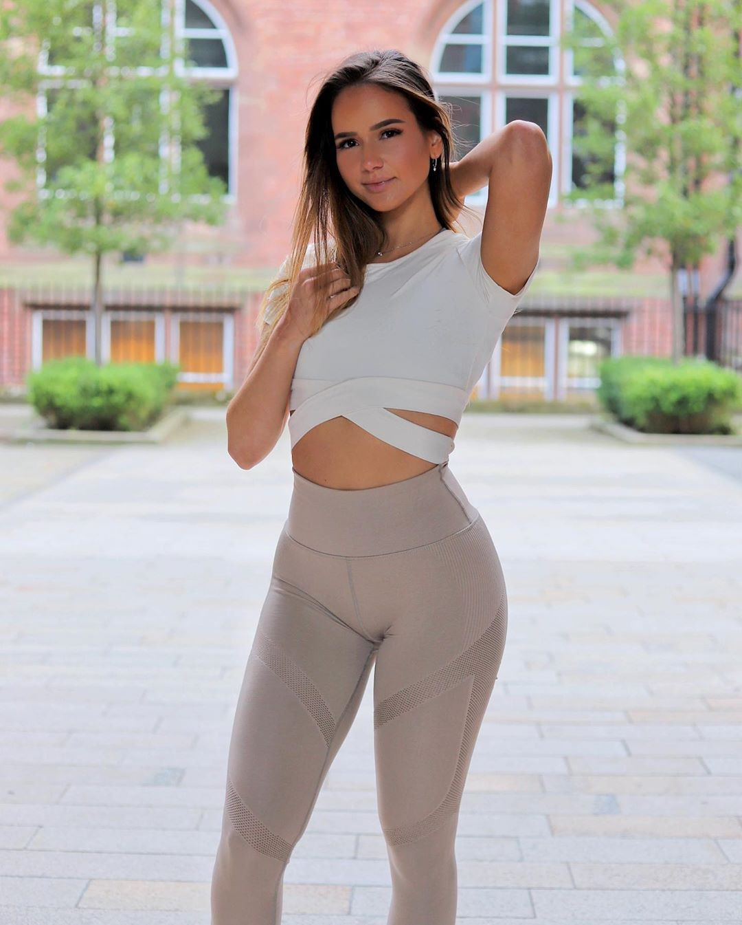 white outfits for girls with active pants, sportswear, crop top