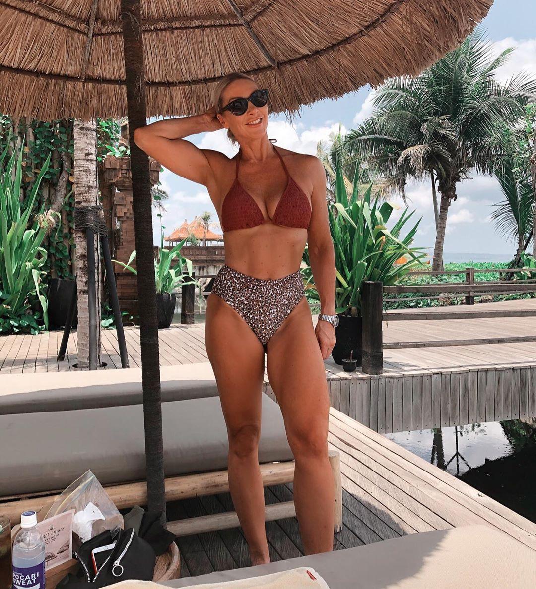 Katie Hewett undergarment, lingerie, bikini swimwear matching outfit