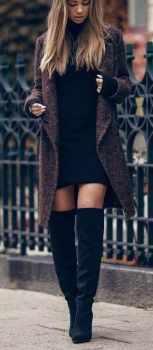 Outfit ideas with sweater, tights, coat