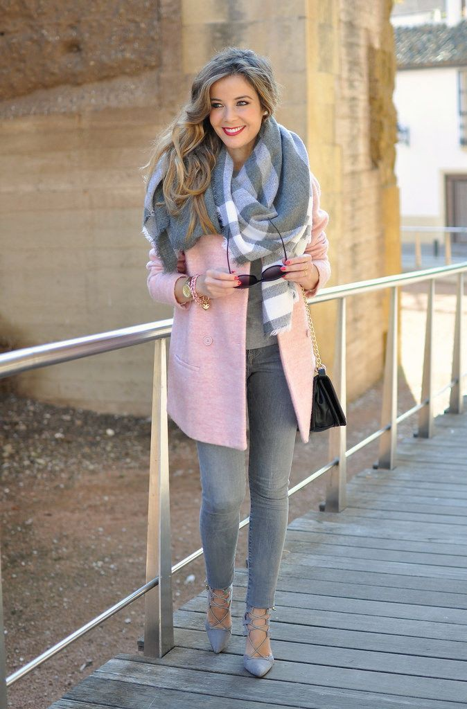 Grey and pink winter outfits