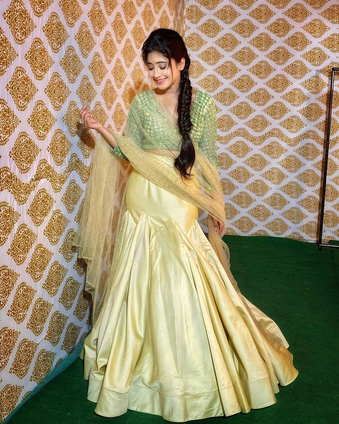 Yellow and green dress, gown formal wear, silk, sari