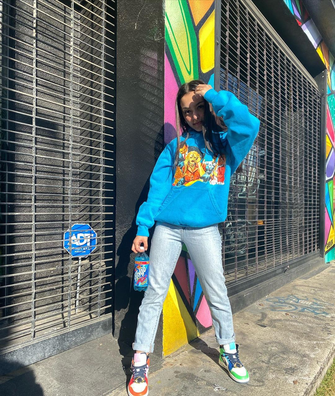 Turquoise and yellow jeans, model photography, Cool Attitude Girls