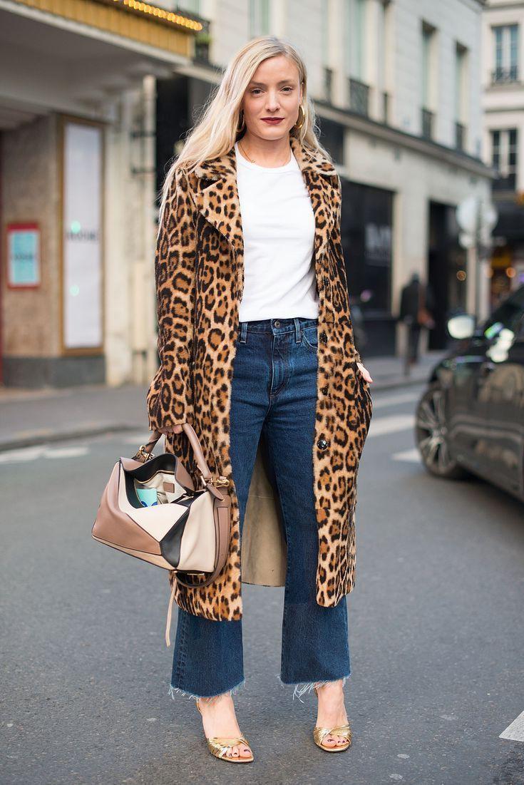 Leopard print coat style, street fashion, fur clothing, animal print, fake fur