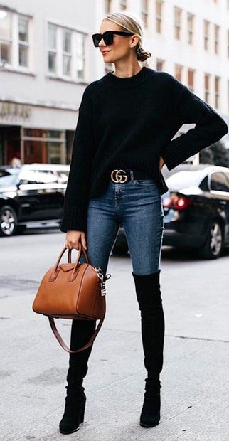Classy outfit classy winter outfits knee high boot, street fashion