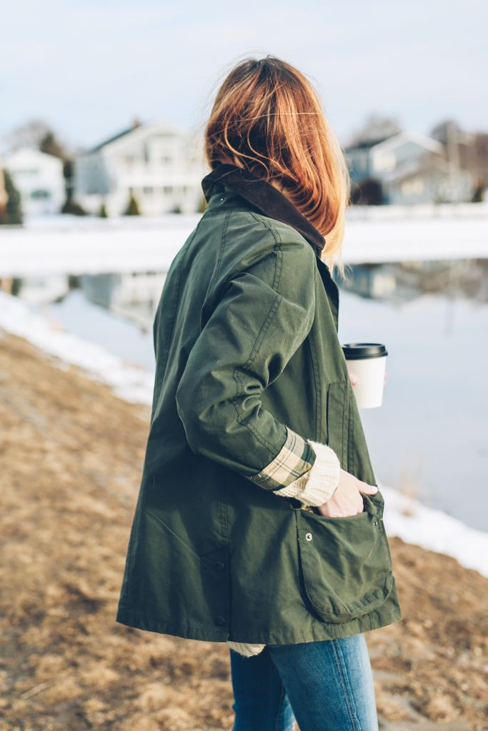 Jess ann kirby barbour, barbour beadnell, street fashion, trench coat