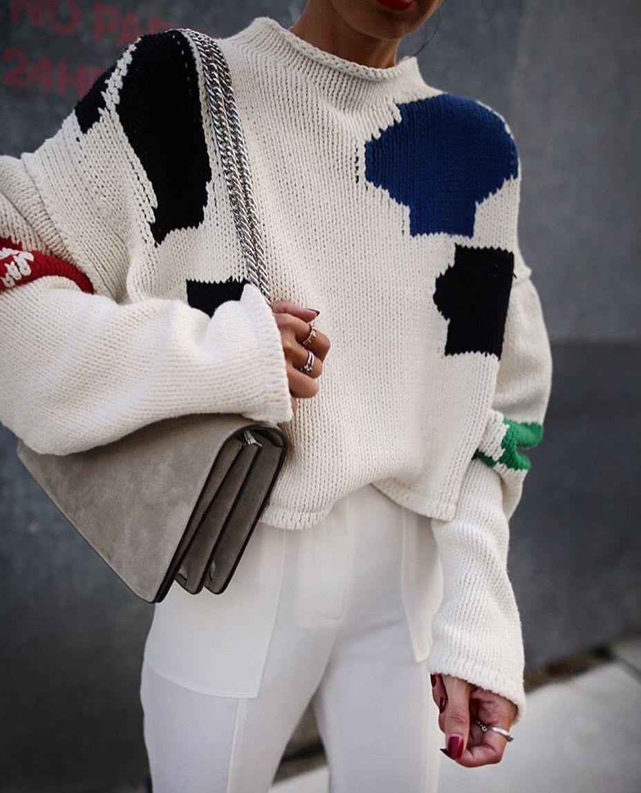 White colour outfit ideas 2020 with sweater